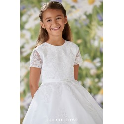 JOAN CALABRESE WHITE TEA-LENGTH FIRST HOLY COMMUNION DRESS STYLE 120354
