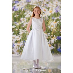 JOAN CALABRESE WHITE TEA-LENGTH FIRST HOLY COMMUNION DRESS STYLE 120352