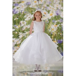 JOAN CALABRESE WHITE TEA-LENGTH FIRST HOLY COMMUNION DRESS STYLE 120347
