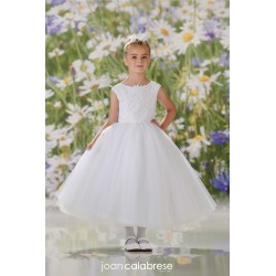 JOAN CALABRESE WHITE TEA-LENGTH FIRST HOLY COMMUNION DRESS STYLE 120331