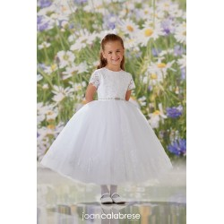 JOAN CALABRESE WHITE TEA-LENGTH FIRST HOLY COMMUNION DRESS STYLE 120337