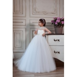 White First Holy Communion Dress with Long Sleeves Style 3139