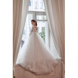 Unusual White First Holy Communion Dress Style 3113