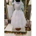 White Handmade Ballerina Length First Holy Communion Dress Style INGRID
