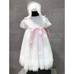 Handmade Baby Girl Ivory/Pink Christening Gown&Bonnet Style 2025