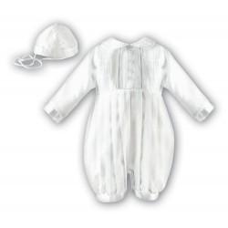SARAH LOUISE WHITE LONG SLEEVED CHRISTENING ROMPER STYLE 002232