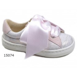 Spanish Pink/Metal Confirmation/Special Occasion Shoes by Tinny Shoes Style 15074
