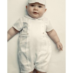 SARAH LOUISE BABY BOY CHRISTENING IVORY ROMPER WITH BONNET STYLE 002226