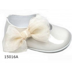 Spanish Handmade Ivory Christening Shoes by Tinny Shoes Style 15016