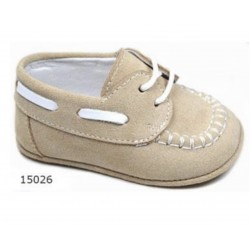 Spanish Handmade Beige/White Christening Shoes by Tinny Shoes Style 15026