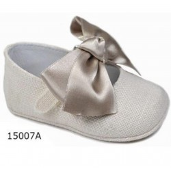 Spanish Handmade Linen Beige Christening Shoes by Tinny Shoes Style 15007