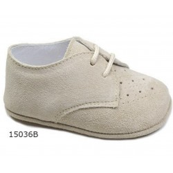 Spanish Handmade Beige Christening Shoes by Tinny Shoes Style 15036A