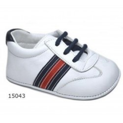 Spanish Handmade White/Red/Navy Christening Shoes by Tinny Shoes Style 15043