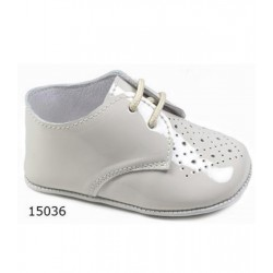 Spanish Handmade Beige Christening Shoes by Tinny Shoes Style 15036