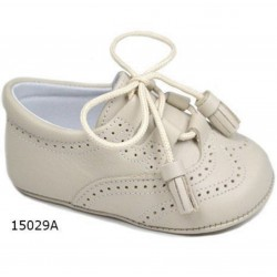 Spanish Handmade Beige Christening Shoes by Tinny Shoes Style 15029