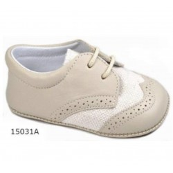 Spanish Handmade Beige Christening Shoes by Tinny Shoes Style 15031