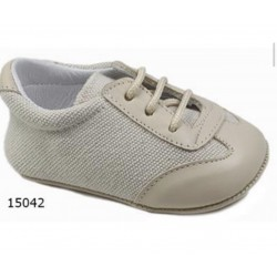 Spanish Handmade Beige Christening Shoes by Tinny Shoes Style 15042