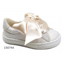 SPANISH CHAMPAGNE/METAL CONFIRMATION/SPECIAL OCCASION SHOES BY TINNY SHOES STYLE 15074