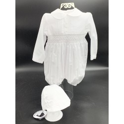 SARAH LOUISE BABY BOY CHRISTENING LONG SLEEVED WHITE ROMPER WITH BONNET STYLE 002200S