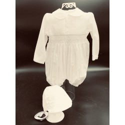 Sarah Louise Long Sleeved Ivory Christening Romper with Bonnet Style 002200