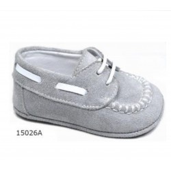 SPANISH HANDMADE GREY/WHITE CHRISTENING SHOES BY TINNY SHOES STYLE 15026