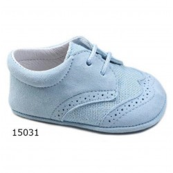 SPANISH HANDMADE BLUE CHRISTENING SHOES BY TINNY SHOES STYLE 15031