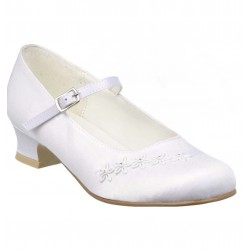 WHITE SATIN FIRST HOLY COMMUNION SHOES STYLE 5289