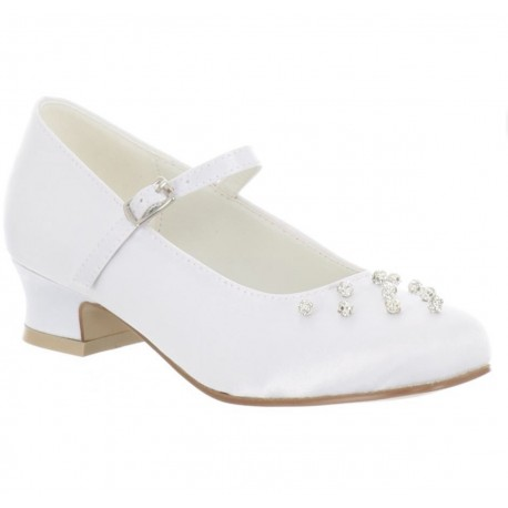 WHITE SATIN FIRST HOLY COMMUNION SHOES STYLE 5802