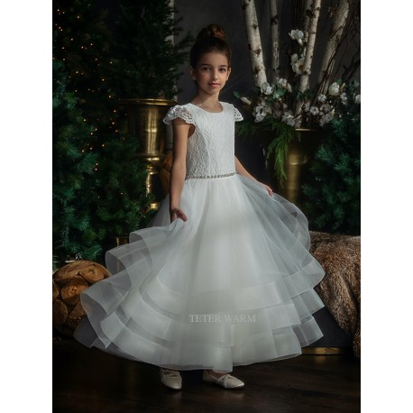 HANDMADE IVORY FIRST HOLY COMMUNION DRESS BY TETER WARM STYLE G04