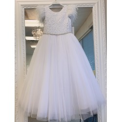 HANDMADE WHITE FIRST HOLY COMMUNION DRESS & JACKET BY TETER WARM STYLE W217