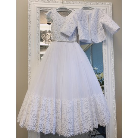 HANDMADE WHITE FIRST HOLY COMMUNION DRESS & JACKET BY TETER WARM STYLE W282