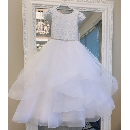 HANDMADE WHITE FIRST HOLY COMMUNION DRESS & BOELRO BY TETER WARM STYLE W212
