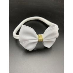 White/Gold Handmade Baby Girl Christening Headband Style 1027