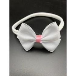 White/Pink Handmade Baby Girl Christening Headband Style 1027 BIS