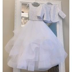 HANDMADE WHITE FIRST HOLY COMMUNION DRESS & BOELRO BY TETER WARM STYLE W1601