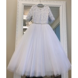 HANDMADE WHITE FIRST HOLY COMMUNION DRESS BY TETER WARM STYLE WFR02