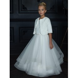 HANDMADE IVORY FIRST HOLY COMMUNION DRESS & BOLERO BY TETER WARM STYLE G06