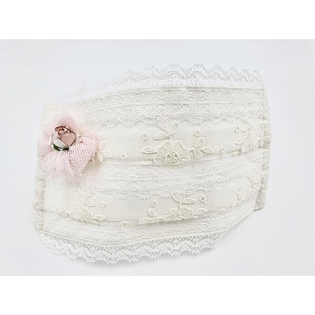 Spanish Ivory/Pink First Holy Communion Face Mask Style CM-A1