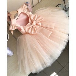 BEAUTIFUL HANDMADE PEACH FLOWER GIRLS DRESS STYLE CECI