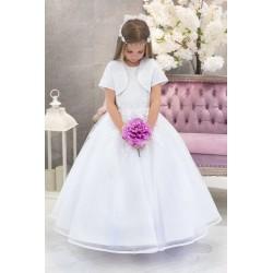 White First Holy Communion Dress & Bolero Violet