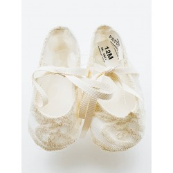 Marla Handmade Ivory Christening Baby Girl Shoes Style M600