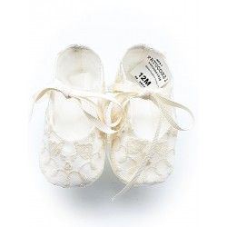 Marla Handmade Ivory Christening Baby Girl Shoes Style M597