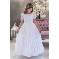 White Handmade First Holy Communion Dress Style LOUISE