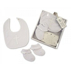 WHITE BABY GIRL/BOY CHRISTENING BIB&SOCKS SET STYLE GP2516-0710