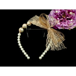 Handmade Pearly Beige Flower Girl/Special Occasion Headband Style PS06