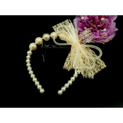 Handmade Pearly Peach Flower Girl/Special Occasion Headband Style PS07