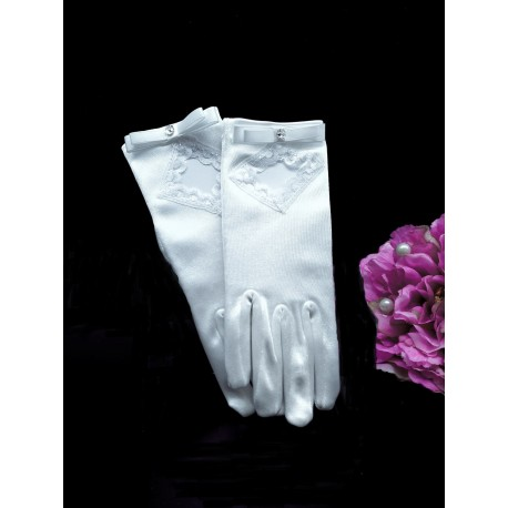 WHITE SATIN FIRST HOLY COMMUNION GLOVES STYLE 809
