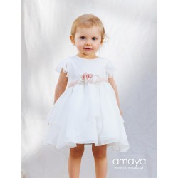AMAYA HANDMADE IVORY/PEACH CHRISTENING/BAPTISM BABY GIRL DRESS STYLE 532212