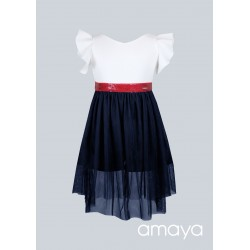 Amaya Ivory/Navy/Red Confirmation/Special Occasion Dress Style 534093