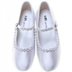 WHITE SATIN FIRST HOLY COMMUNION SHOES STYLE 4937